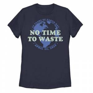 Unbranded Juniors' Earth Day 50 Years No Time To Waste Tee, Girl's, Size: Large, Blue