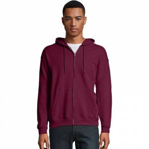 Hanes Men's Hanes EcoSmart Fleece Full-Zip Hooded Jacket, Size: Medium, Red Overfl