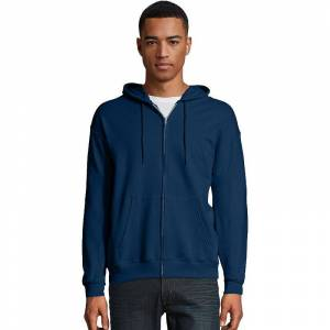 Hanes Men's Hanes EcoSmart Fleece Full-Zip Hooded Jacket, Size: Medium, Blue