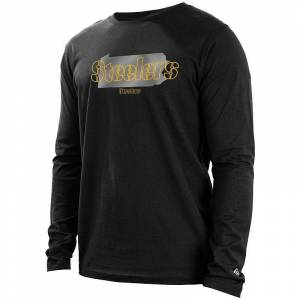 Men's New Era Black Pittsburgh Steelers State Long Sleeve T-Shirt, Size: Small