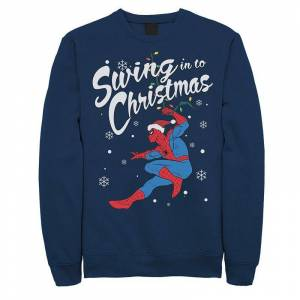 Men's Marvel Spider-Man Swing In To Christmas Sweatshirt, Size: Small, Blue