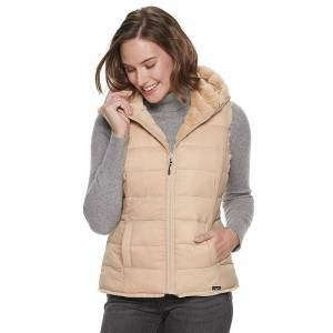 Be Boundless Women's Be Boundless Freeform Reversible Hooded Vest, Size: XL, Beige