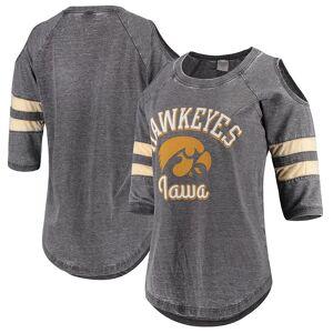 Women's Pressbox Black Iowa Hawkeyes Vintage Wash Cold Shoulder Raglan 3/4-Sleeve T-Shirt, Size: Small