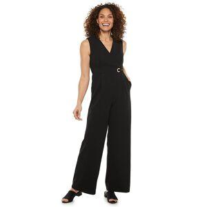 Women's Chaps Sleeveless Cross Front V-Neck Jumpsuit, Size: 4, Black