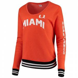 Women's Blue 84 Orange Miami Hurricanes Emily Varsity Banded V-Neck Pullover Sweatshirt, Size: Small