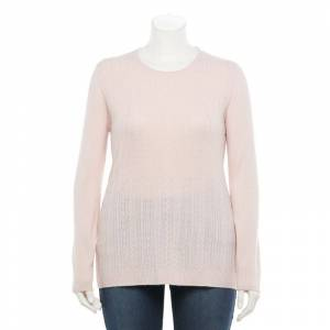 Napa Valley Plus Size Napa Valley Cable-Knit Crewneck Sweater, Women's, Size: 2XL, Brt Pink