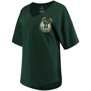 Women's Fanatics Branded Hunter Green Milwaukee Bucks Baseline Spirit Jersey V-Neck T-Shirt, Size: XS