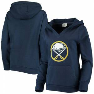 Fanatics Women's Fanatics Branded Navy Buffalo Sabres Primary Team Logo Fleece V-Neck Pullover Hoodie, Size: Medium, Blue