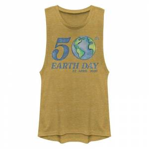 Unbranded Juniors' 50th Earth Day 22 April 2020 Muscle Tank Top, Girl's, Size: Small, Gold