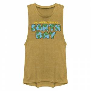 Unbranded Juniors' Earth Day 50th Anniversary Muscle Tank Top, Girl's, Size: XS, Gold
