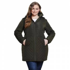Plus Size Gallery Plush Hood Quilted Coat, Women's, Size: 1XL, Green
