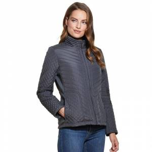 Weathercast Women's Weathercast Side-Stretch Quilted Jacket, Size: Small, Grey