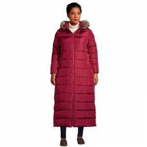Plus Size Lands' End Faux-Fur Hood Quilted Long Down Winter Coat, Women's, Size: 3XL, Dark Red