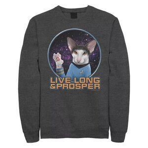 Licensed Character Juniors' Star Trek The Original Series Spock Cat Portrait Crew Sweatshirt, Girl's, Size: Medium, Dark Grey
