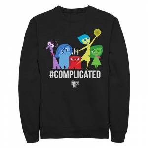 Licensed Character Juniors Disney / Pixar Inside Out Hashtag Complicated Crew Fleece, Girl's, Size: XL, Black