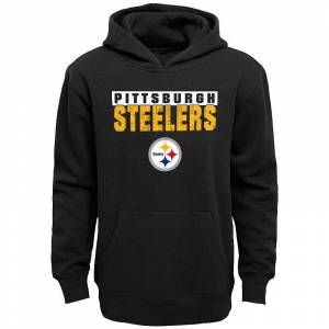 Boys' 4-20 NFL Pittsburgh Steelers Hooded Bar Code Fleece, Boy's, Size: XX Small, Black