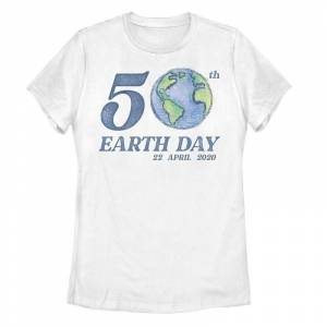 Unbranded Juniors' 50th Earth Day 22 April 2020 Tee, Girl's, Size: Medium, White