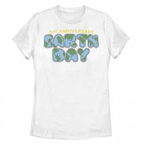 Unbranded Juniors' Earth Day 50th Anniversary Tee, Girl's, Size: Small, White