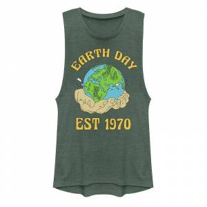 Unbranded Juniors' Earth Day Established 1970 Muscle Tank Top, Girl's, Size: Small, Green