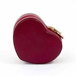 Bey-Berk Leather Heart Jewelry Box, Women's, Red