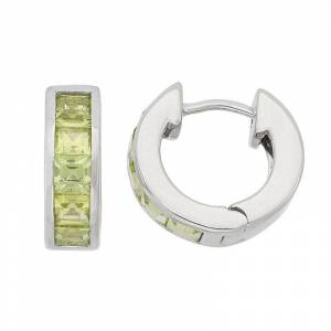 Peridot Sterling Silver Huggie Hoop Earrings, Women's, Green