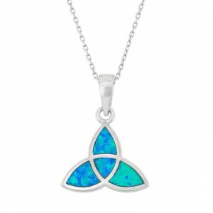 Lab-Created Blue Opal Sterling Silver Celtic Knot Pendant Necklace, Women's, Size: 18