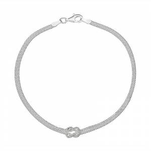"""PRIMROSE Sterling Silver Knot Wheat Chain Bracelet - 8 in., Women's, Size: 8"""", Grey"""