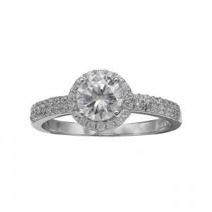 PRIMROSE Sterling Silver Cubic Zirconia Halo Ring, Women's, Size: 8, Grey