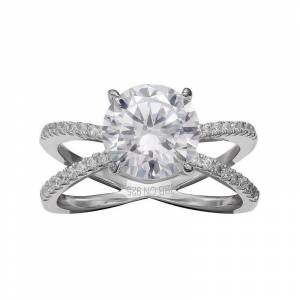 PRIMROSE Sterling Silver Cubic Zirconia Crisscross Ring, Women's, Size: 8, Grey