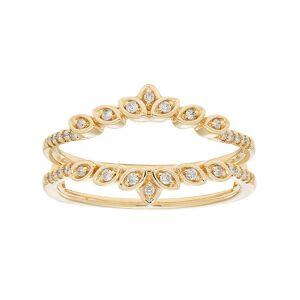 14k Gold 1/6 Carat T.W. Diamond Marquise Enhancer Wedding Ring, Women's, White