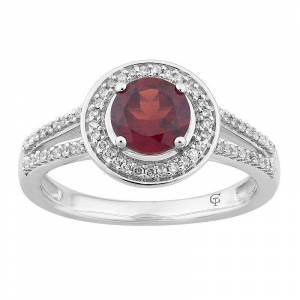 10k White Gold Garnet & 1/5 Carat T.W. Diamond Halo Ring, Women's, Size: 6, Red