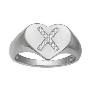 PRIMROSE Heart Cubic Zirconia Initial Ring, Women's, Size: 9, Grey
