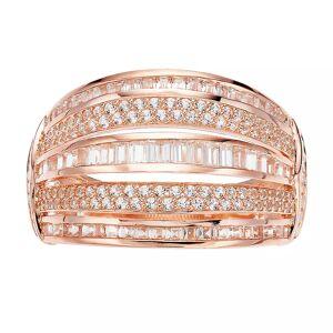 14k Rose Gold 1 Carat T.W. Diamond Multi Row Ring, Women's, Size: 7, White