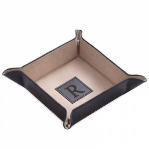 Initial Monogrammed Black Leather Valet Tray, Adult Unisex