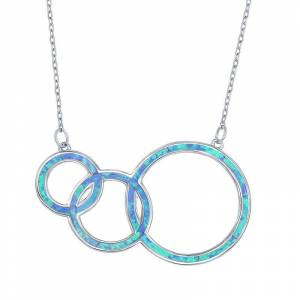 Sterling Silver Lab-Created Blue Opal Generations Necklace, Women's, Size: 16-18