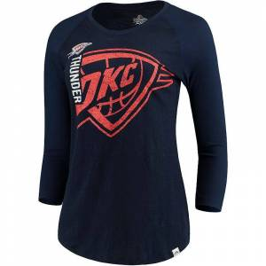 Women's Majestic Heathered Navy/Navy Oklahoma City Thunder Best Impression Raglan 3/4-Sleeve T-Shirt, Size: Small, Blue
