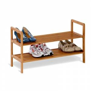 Honey-Can-Do Bamboo 2-Tier Shoe Rack, Brown