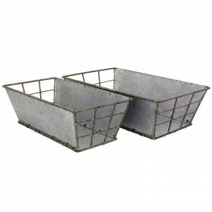 Stonebriar Collection Galvanized Metal Basket 2-piece Set, Grey