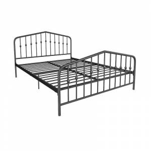 Novogratz Bushwick Metal Bed, Black, Queen