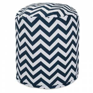 Majestic Home Goods Chevron Indoor Outdoor Small Pouf Ottoman, Blue, 12X20