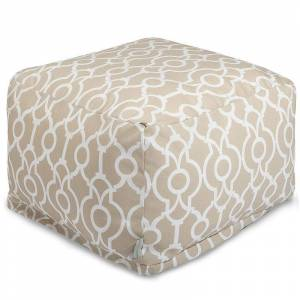 Majestic Home Goods Athens Indoor / Outdoor Pouf Ottoman, Beig/Green