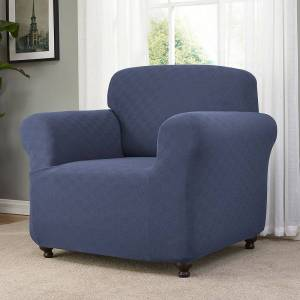 Madison Checkerboard Chair Slipcover, Med Blue, Armchair