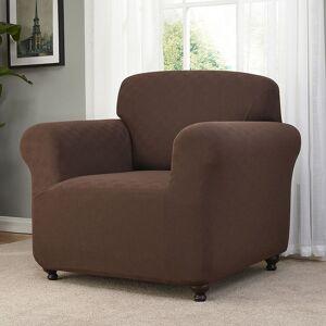 Madison Checkerboard Chair Slipcover, Dark Brown, Armchair
