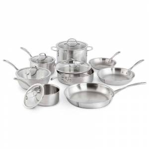 Calphalon Tri-Ply Stainless Steel 13 pc. Cookware Set, Grey