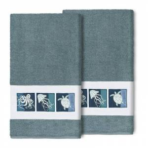 Linum Home Textiles Turkish Cotton Ava 2-piece Embellished Bath Towel Set, Med Blue, 2 Pc Set