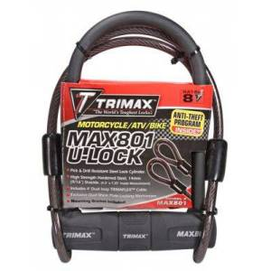 Trimax Max-Security U-Shackle Lock with Dual Loop Cable