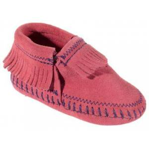 Minnetonka Moccasin Riley Booties - Hot Pink - 0 Infant