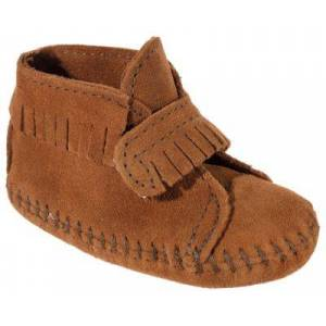 Minnetonka Moccasin Front Strap Booties  - Brown - 5 Toddler