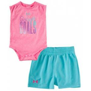 Under Armour Girls with Goals Sleeveless Bodysuit and Shorts Set for Babies - Mojo Pink/Light Blue - 9-12 Months