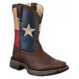 Lil' Durango Texas Flag Pull-On Western Boots for Toddlers or Kids - Brown/Texas Flag - 4.5 Kids
